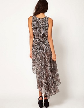 Image 2 ofLove Feather Print Chiffon Wrap Hi Lo Dress