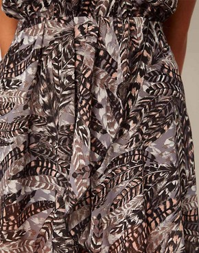 Image 3 ofLove Feather Print Chiffon Wrap Hi Lo Dress