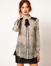 Warehouse Lace Print Blouse