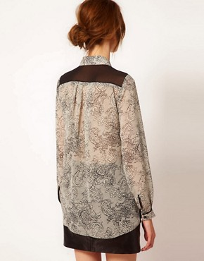 Image 2 ofWarehouse Lace Print Blouse