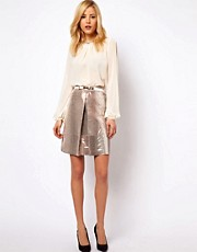 ASOS A-Line Skirt in Metallic Snake