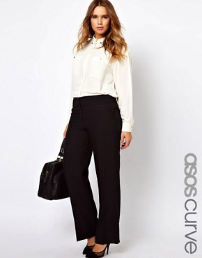 Image 1 ofASOS CURVE Bi-stretch Clean Front Wide Leg