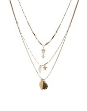 Orelia Three Row Short Charm Necklace