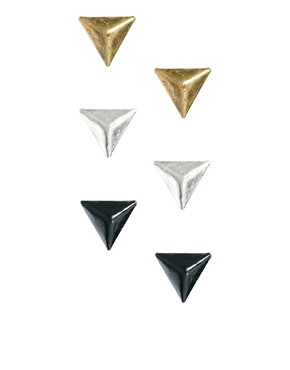 Image 1 ofJust Acces Pack Of Three High Earrings