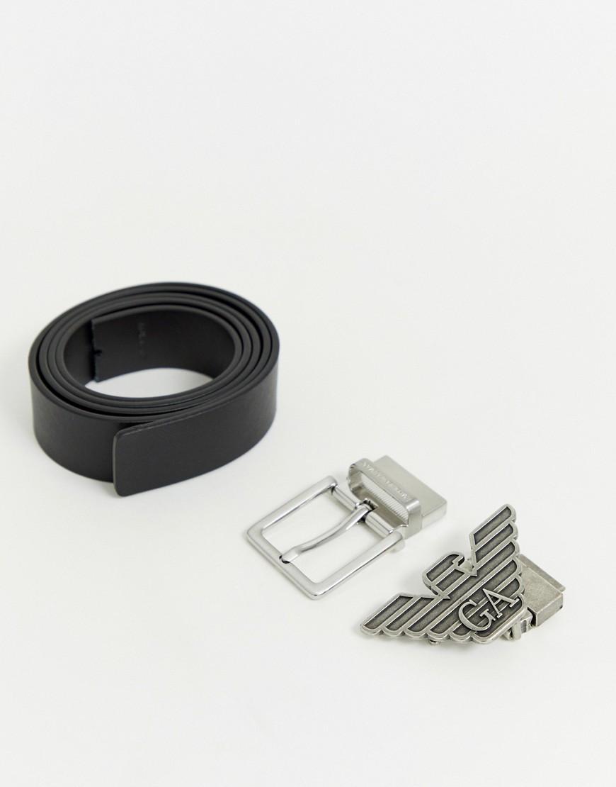 Подарочный набор с черным двусторонним кожаным ремнем и двумя пряжками Emporio Armani - Черный