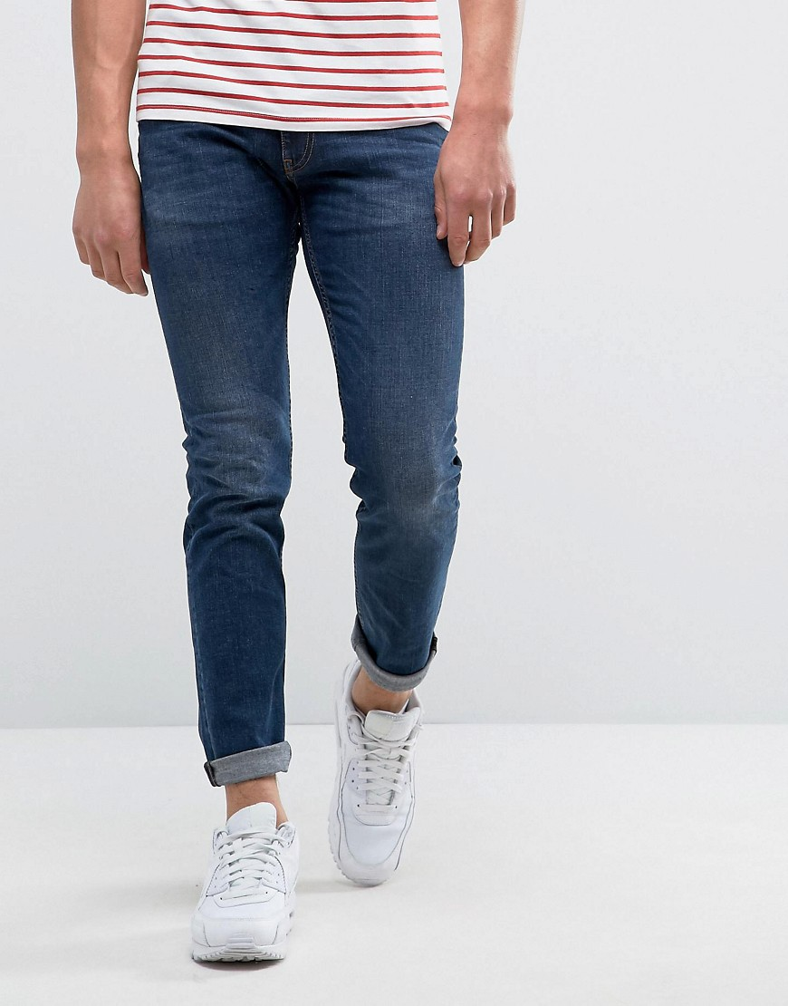 Love Moschino Jeans With Peace Badge In Slim Fit - Blue