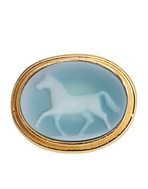 Image 2 ofLaura Lee Horse Agate Cameo Ring