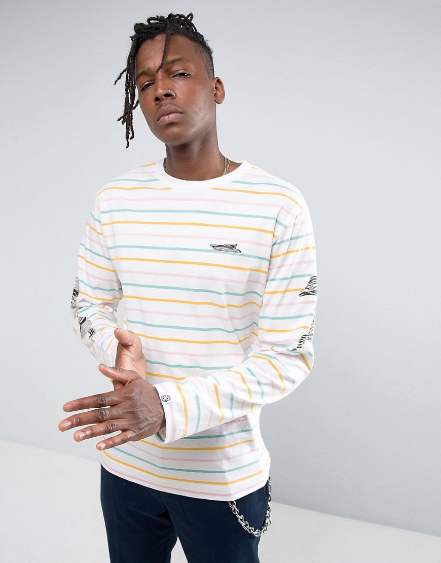 Billionaire Boys Club Long Sleeve T-Shirt With Candy Stripes - White