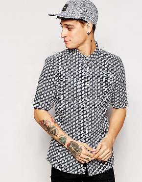 Religion Short Sleeve Shirt with All Over Penguin Print