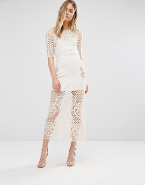For Love and Lemons Gracey Ivory Crochet Midi Dress