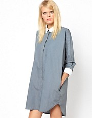 Antipodium Posterize Shirt Dress with Contrast Collar