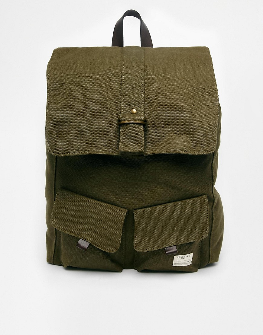 Selected Adrian Canvas Backpack - Green