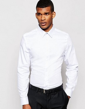 River Island Pointed Collar Shirt with Jacquard Detail