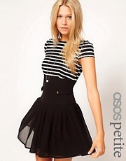 ASOS PETITE Exclusive Dress With Stripe Top And Chiffon Skirt