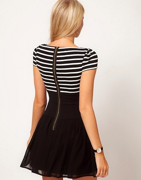 Image 2 ofASOS PETITE Exclusive Dress With Stripe Top And Chiffon Skirt
