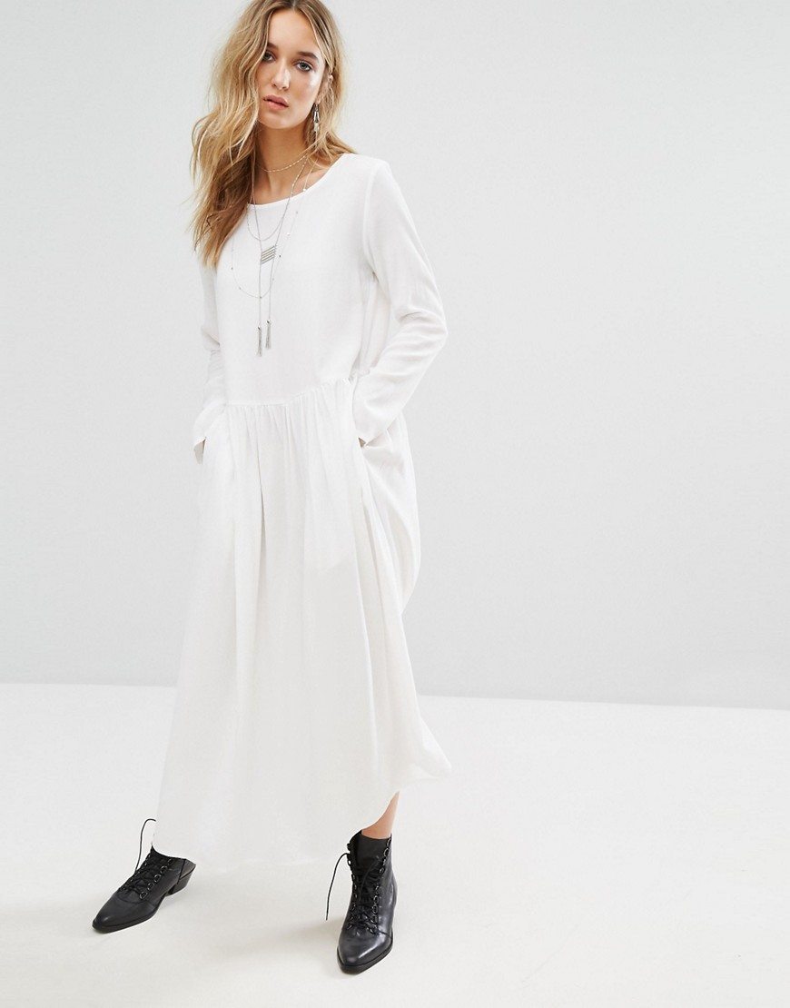 Mango Midi Smock Dress - White
