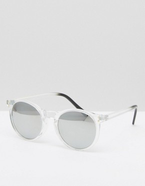 Pieces Round Sunglasses with Clear Frame and Mirror Lens