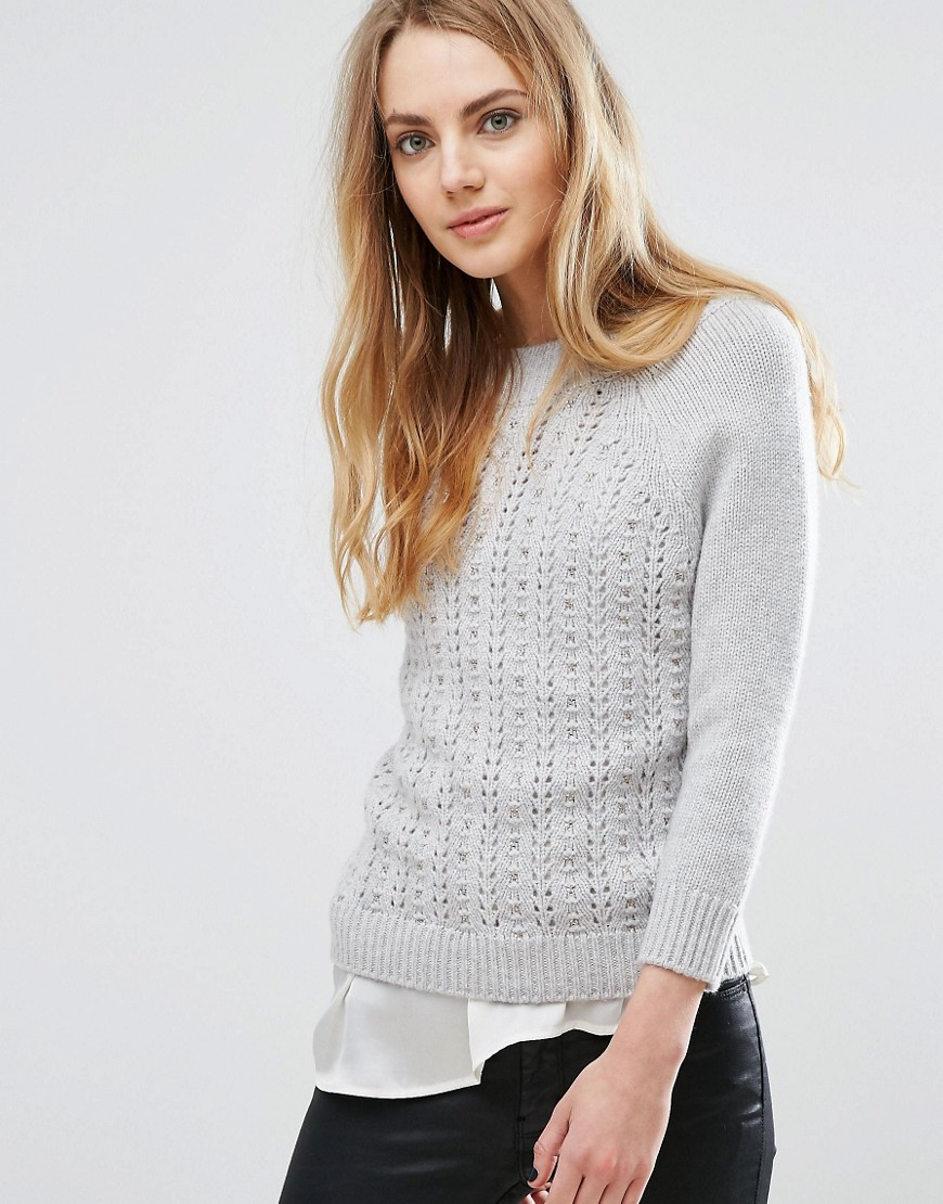 Ted Baker Stitch Detail Jumper - Mid-grey