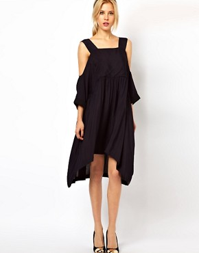 Image 1 ofASOS Smock Dress with Strap Cold Shoulder