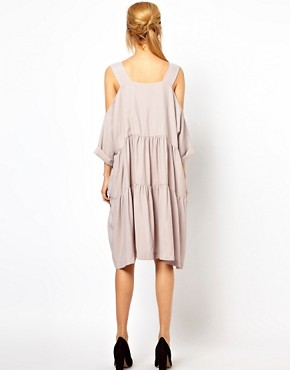 Image 2 ofASOS Smock Dress with Strap Cold Shoulder