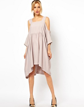 Image 4 ofASOS Smock Dress with Strap Cold Shoulder