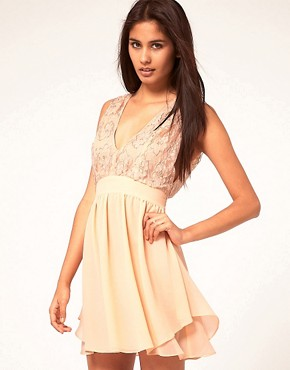Image 1 ofASOS Skater Dress With Embellished Top