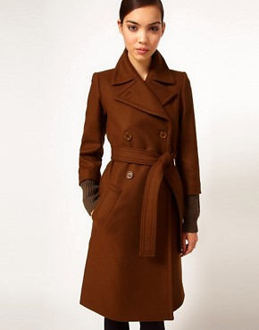 Image 1 ofSonia by Sonia Rykiel Wool Belted Coat with Heavy Knitted Cuff