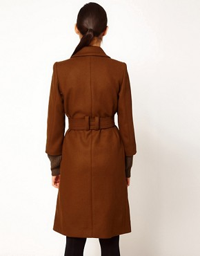 Image 2 ofSonia by Sonia Rykiel Wool Belted Coat with Heavy Knitted Cuff