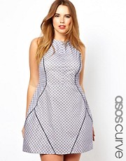ASOS CURVE - Vestito a vita alta con motivo geometrico blu
