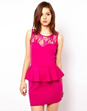 Club L Peplum Dress With Lace