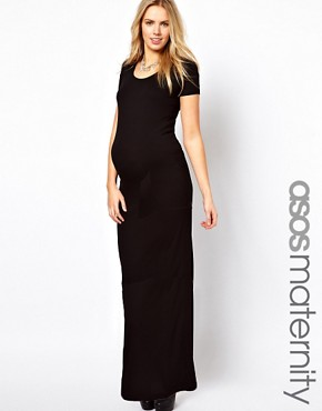Image 1 ofASOS Maternity Maxi Dress With  T-Shirt Sleeve
