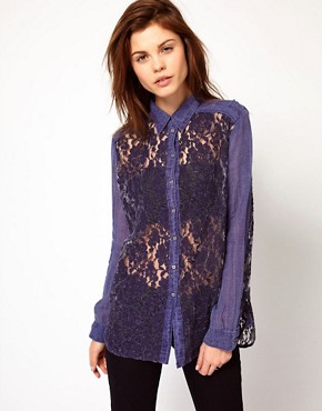 Image 1 ofDiesel Denim Shirt With Lace Front