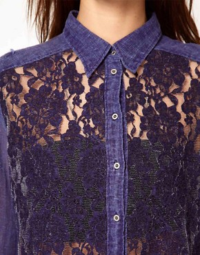 Image 3 ofDiesel Denim Shirt With Lace Front
