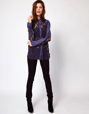 Image 4 ofDiesel Denim Shirt With Lace Front