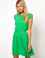ASOS Skater Dress With Pintucks And Self Belt