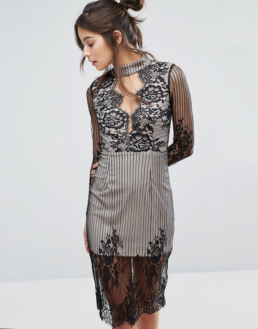 Love Triangle Mesh Long Sleeve Lace Overlay Dress With Choker Neck