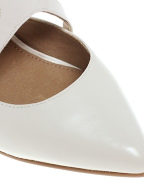 Image 3 ofASOS SIENNA Leather Point Court Shoes with Cross Strap