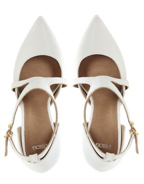 Image 4 ofASOS SIENNA Leather Point Court Shoes with Cross Strap