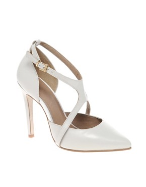 Image 1 ofASOS SIENNA Leather Point Court Shoes with Cross Strap
