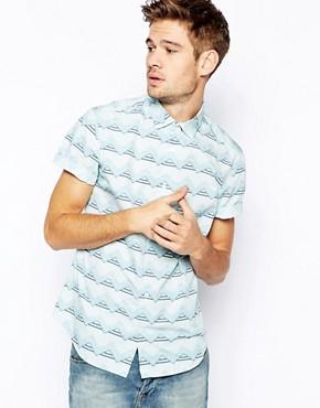 River Island Short Sleeved Shirt With Zig-Zag Print