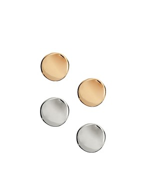 Image 1 ofASOS Round Disc Stud Earrings