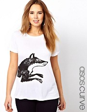 Esclusiva ASOS CURVE - T-shirt con volpe in corsa