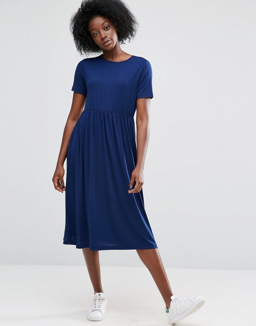 ASOS Midi Smock Dress with Cut Out Back - Navy