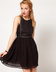 Stylestalker Rivited Stud and Chiffon Panel Dress