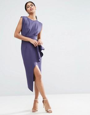ASOS Open Side Zip Front Fold Peplum Midi Dress