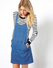 ASOS Denim Pinafore Dress in Vintage Wash
