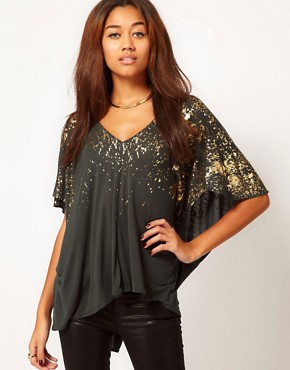 Image 1 ofReligion Falling Fire Oversized Top With Foil Print
