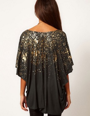 Image 2 ofReligion Falling Fire Oversized Top With Foil Print