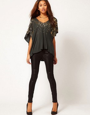 Image 4 ofReligion Falling Fire Oversized Top With Foil Print