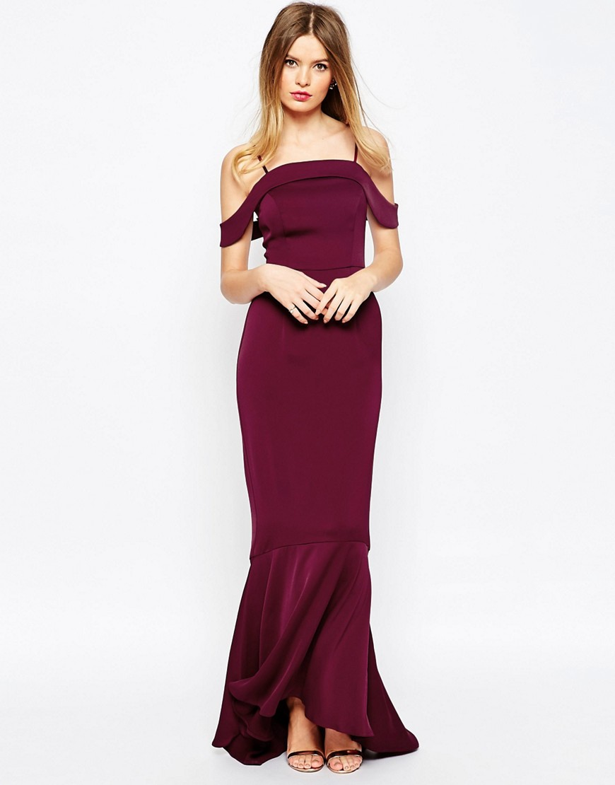 asos asos wedding off the shoulder bardot fishtail maxi